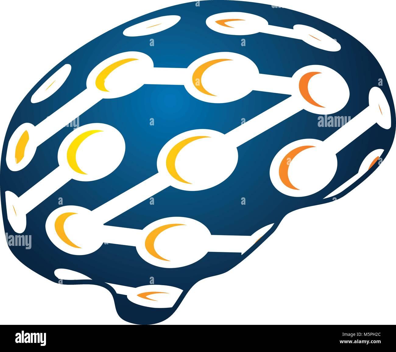 neuroscience Logo Design Template Vector - Stock Image