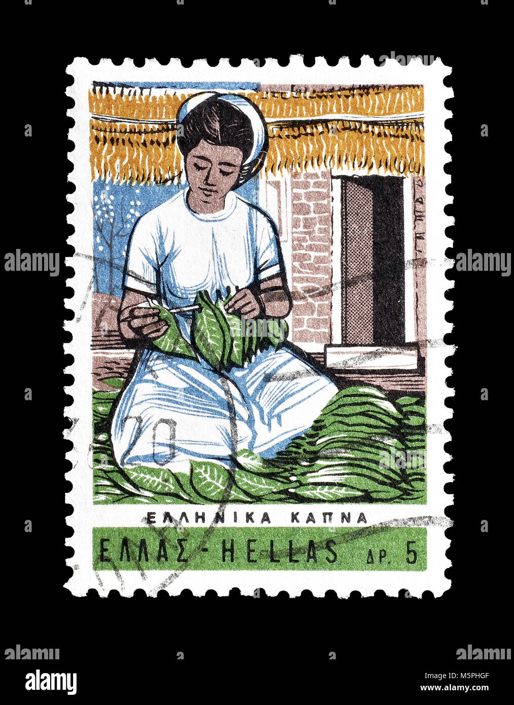 Cancelled postage stamp printed by Greece, that shows Woman Sorting out tobacco leaves, circa 1966. - Stock Image