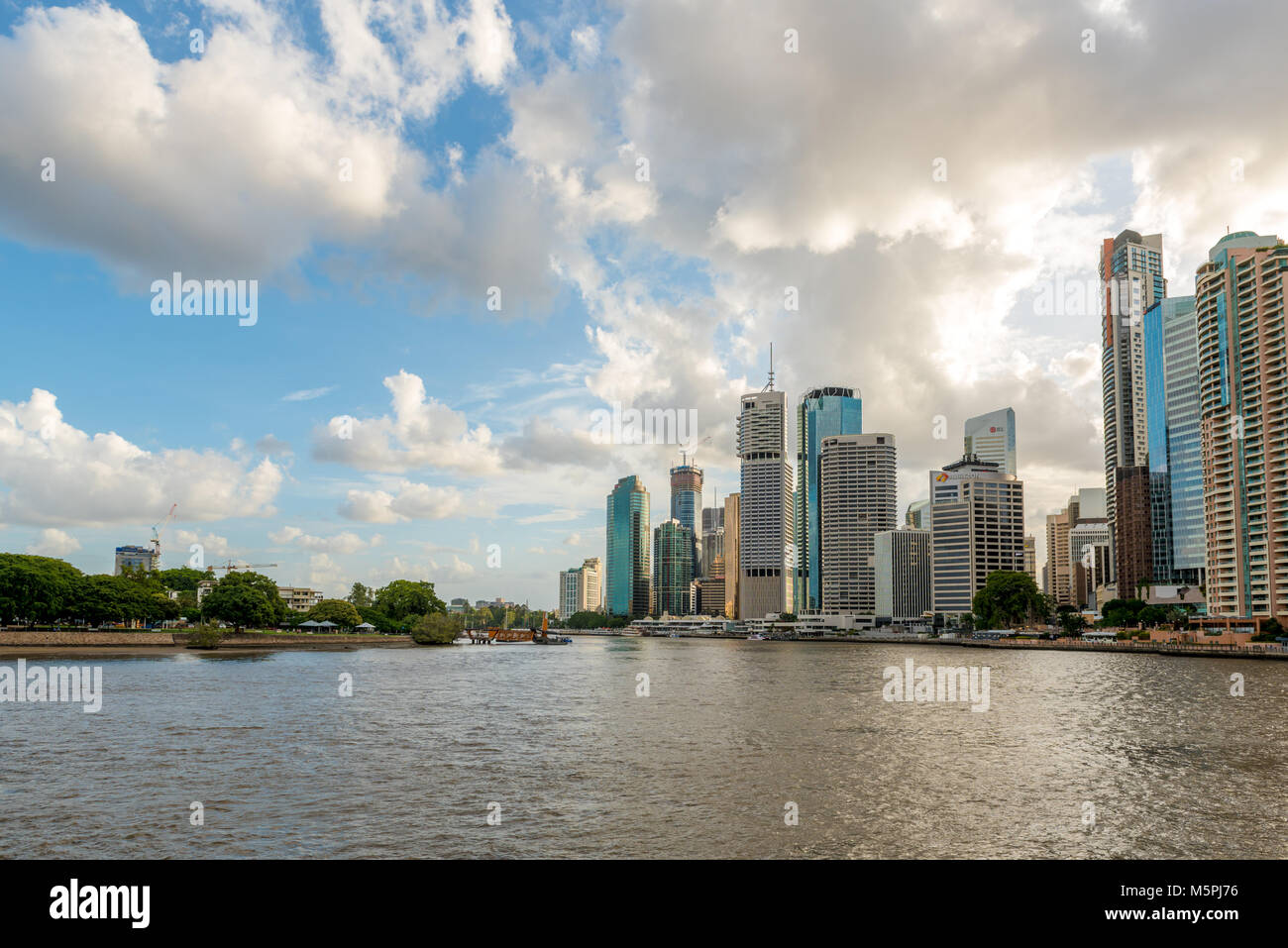 Brisbane Central Business District on the banks of the River Brisbane. - Stock Image