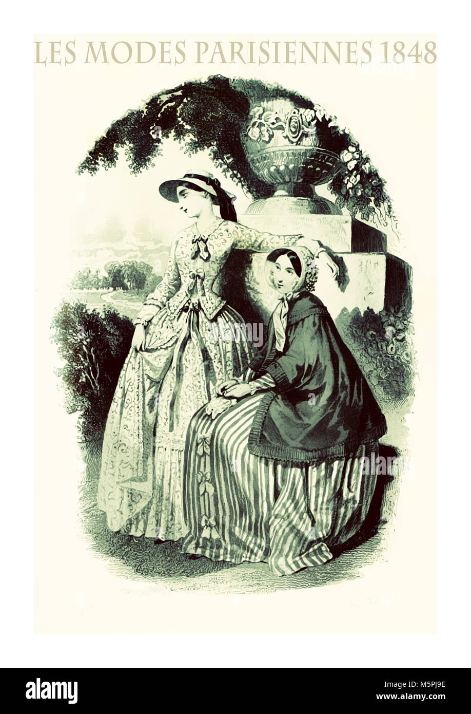 1848 vintage fashion, French magazine Les Modes Parisiennes presents two young ladies in languid pose outdoor in - Stock Image