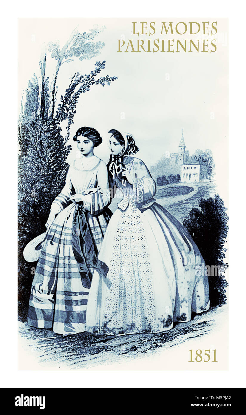 1851 vintage fashion, French magazine Les Modes Parisiennes presents two young ladies walking and chatting in the - Stock Image