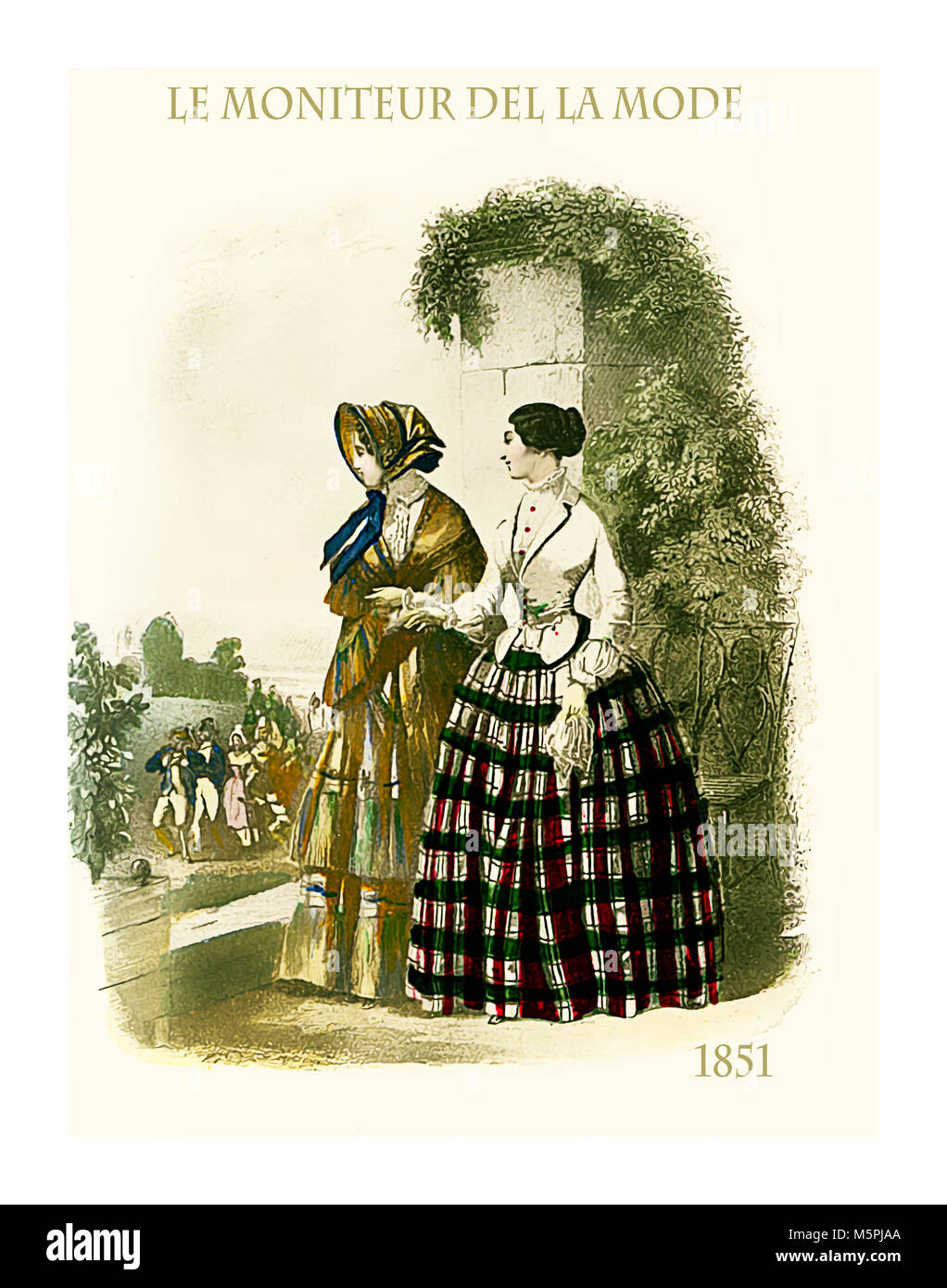 1851 vintage fashion, French magazine Le Moniteur de la Mode presents two ladies outdoor in a beautiful garden with - Stock Image
