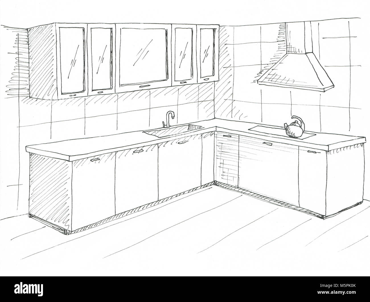 Hand Drawn Kitchen Furniture Sketch With A Pen Stock Photo Alamy