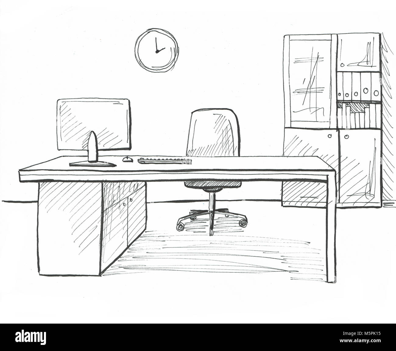 Office In A Sketch Style Hand Drawn Office Furniture Stock Photo