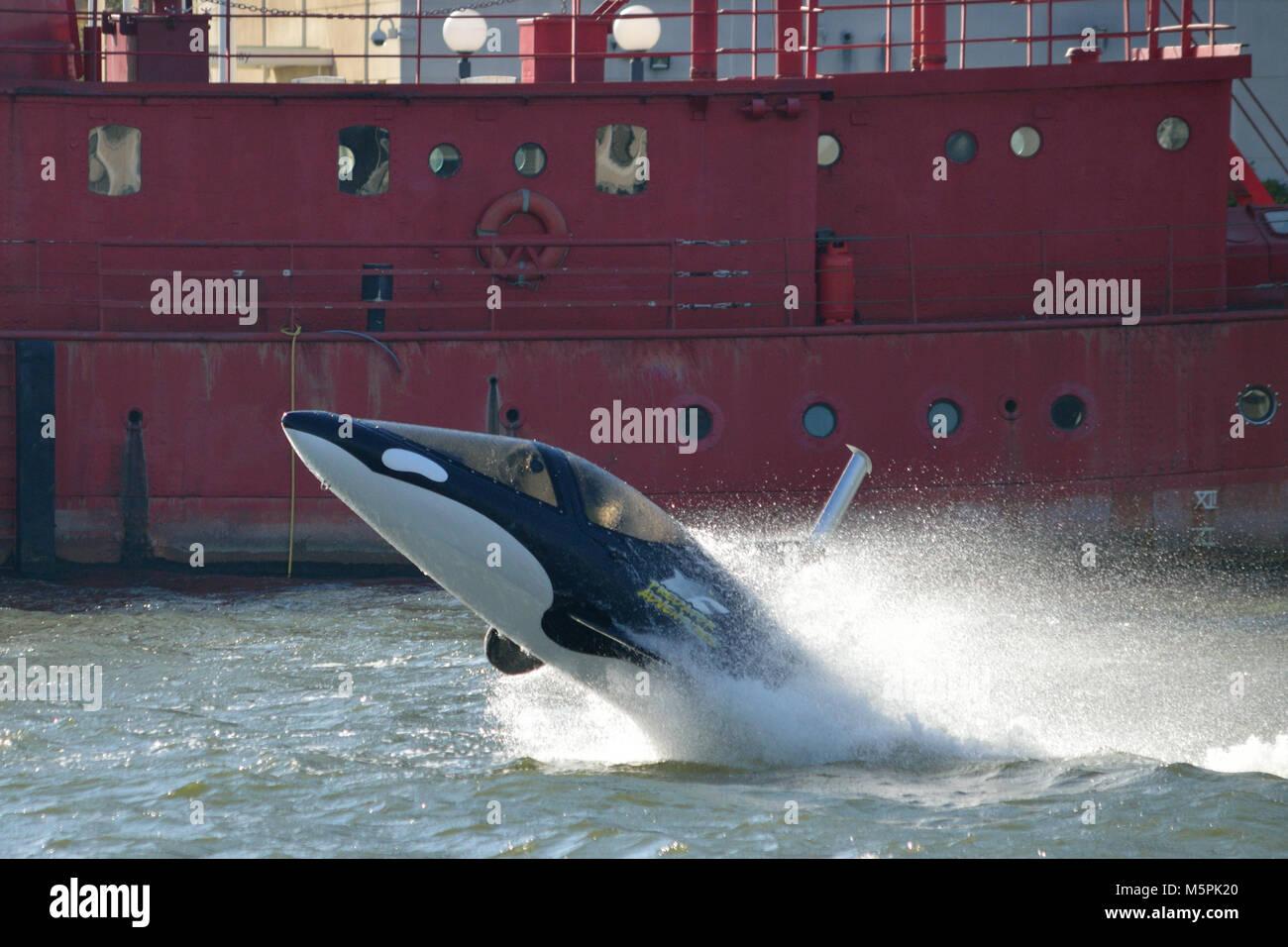 Predator Adventures offering thrill-rides in their Seabreacher Watercraft Killer Whale submersible speedboat in - Stock Image