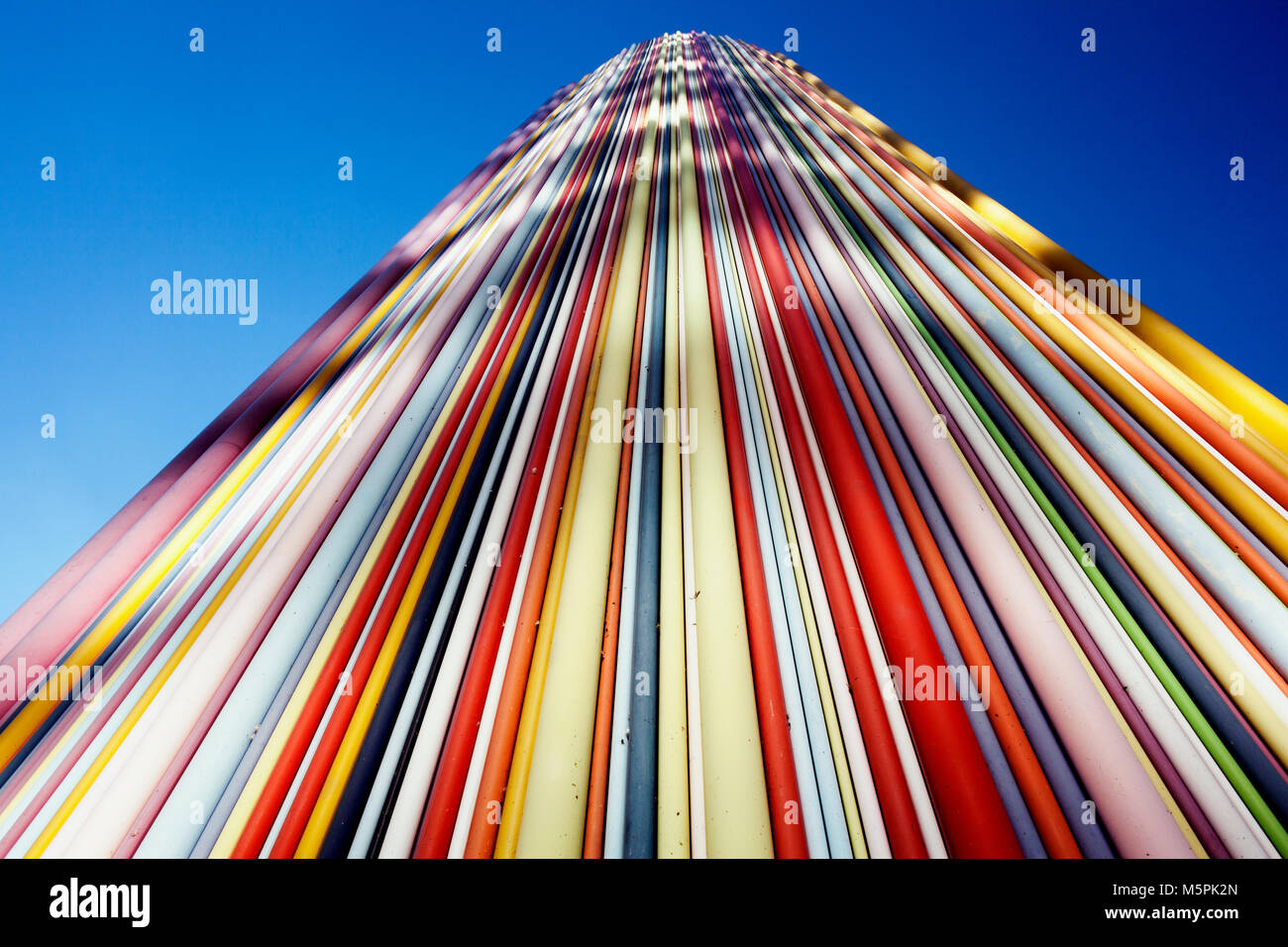 A low angle perspective view of colorful, modern and geometric built structure in Paris, France - Stock Image