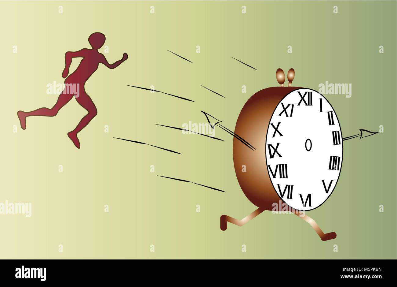 Cartoon silhouette running after alarm clock demonstrating chasing time. - Stock Vector
