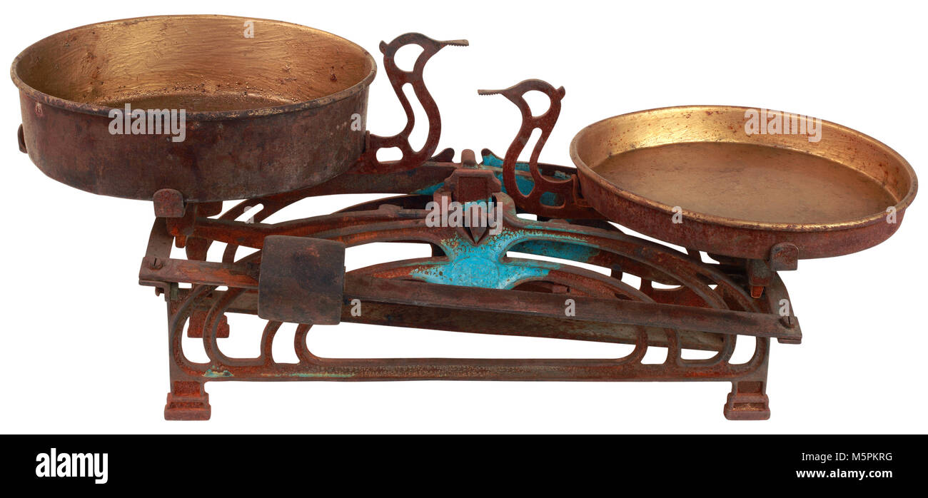 Rusty Old Kitchen Scale Front Side - Stock Image