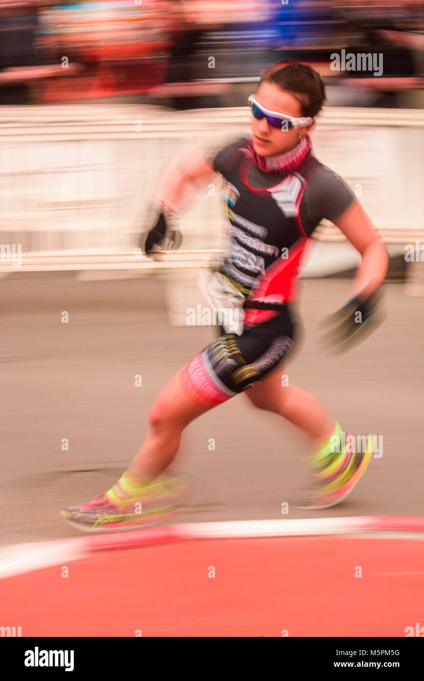 Duathlon, sport, competition, pineda de mar, catalonia, effort, superation - Stock Image