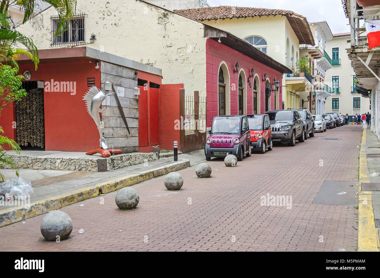 Panama City, Panama - November 3, 2017: A street in the historic district Casco Viejo (Spanish for Old Quarter), - Stock Image