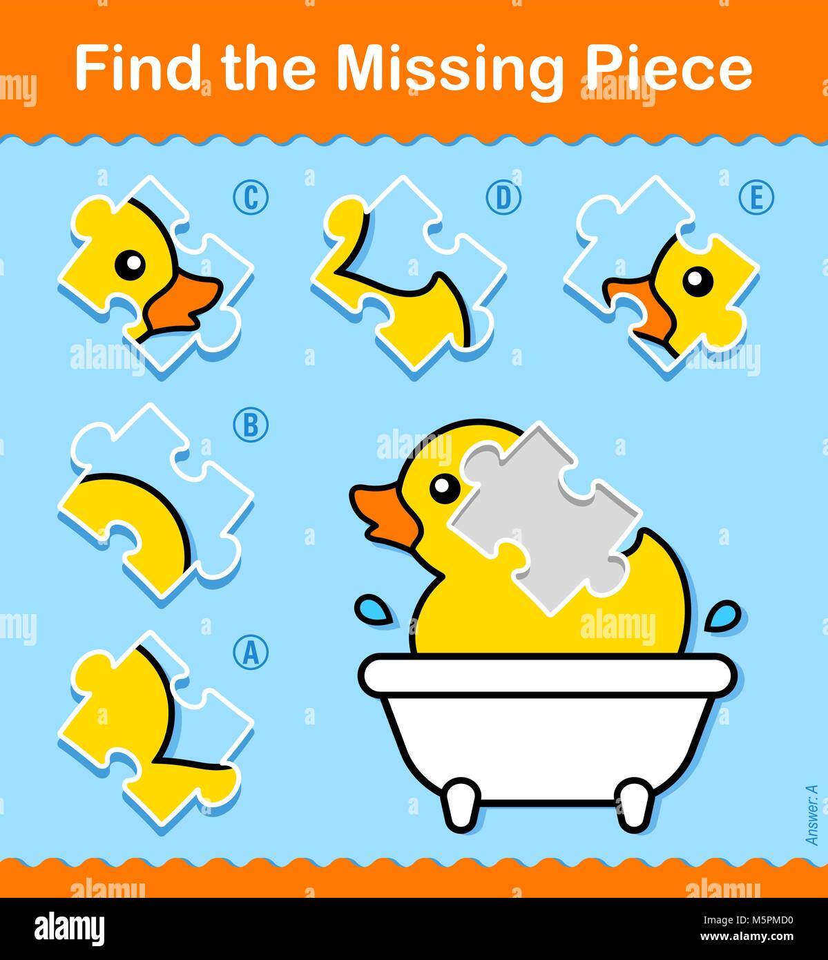 Kids educational Find The Missing Piece puzzle with a colorful ...