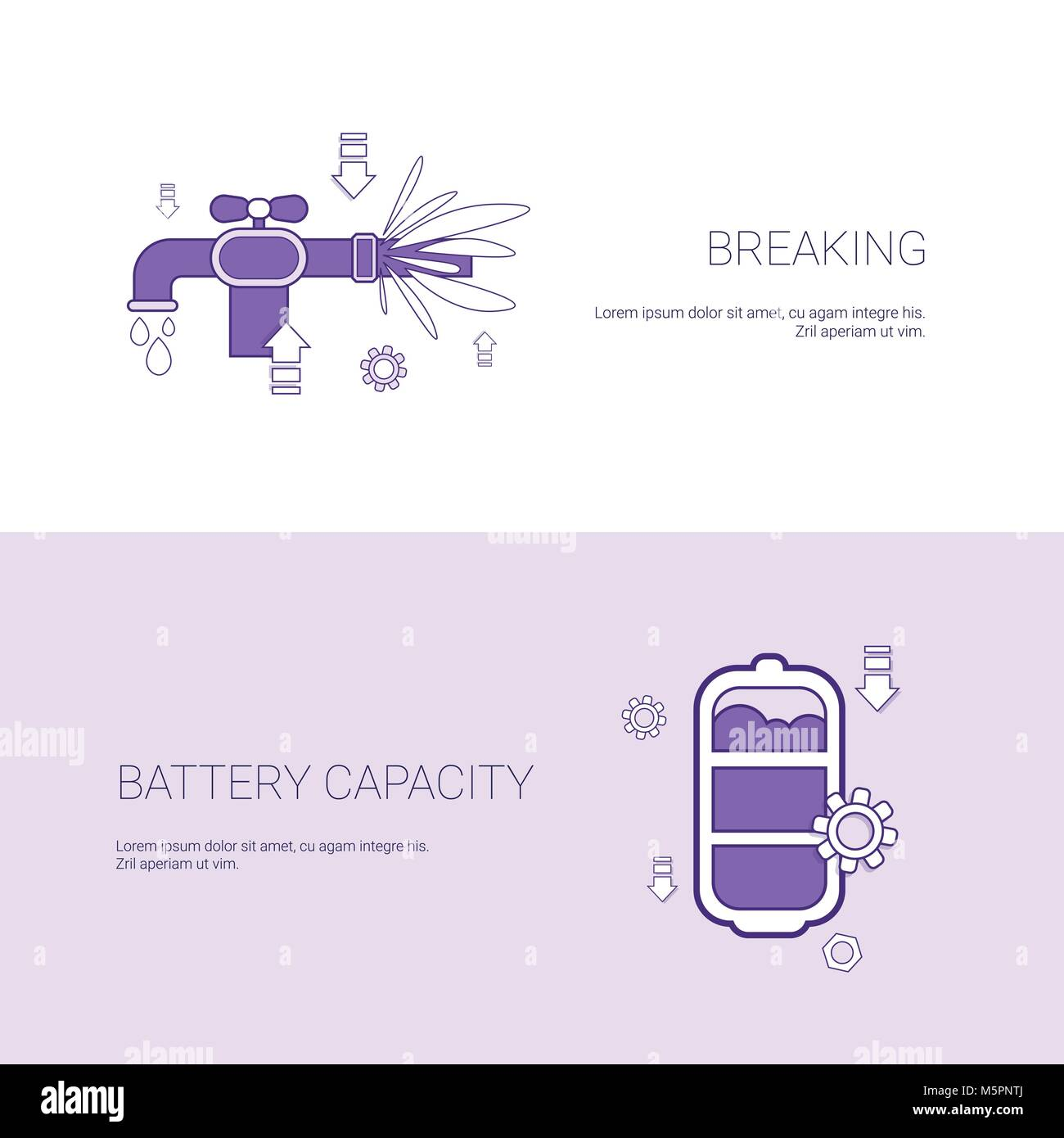 Pipe Breaking And Battery Capacity Concept Template Web Banner With Copy Space - Stock Vector