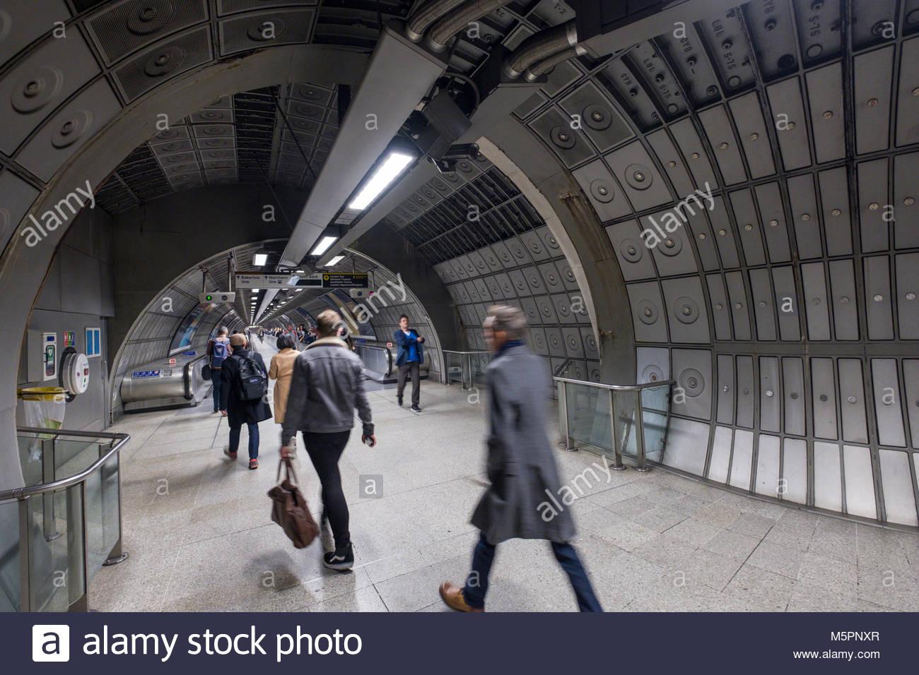 People walking in tunnel, Waterloo underground station, Lambeth, London, England, United Kingdom - Stock Image