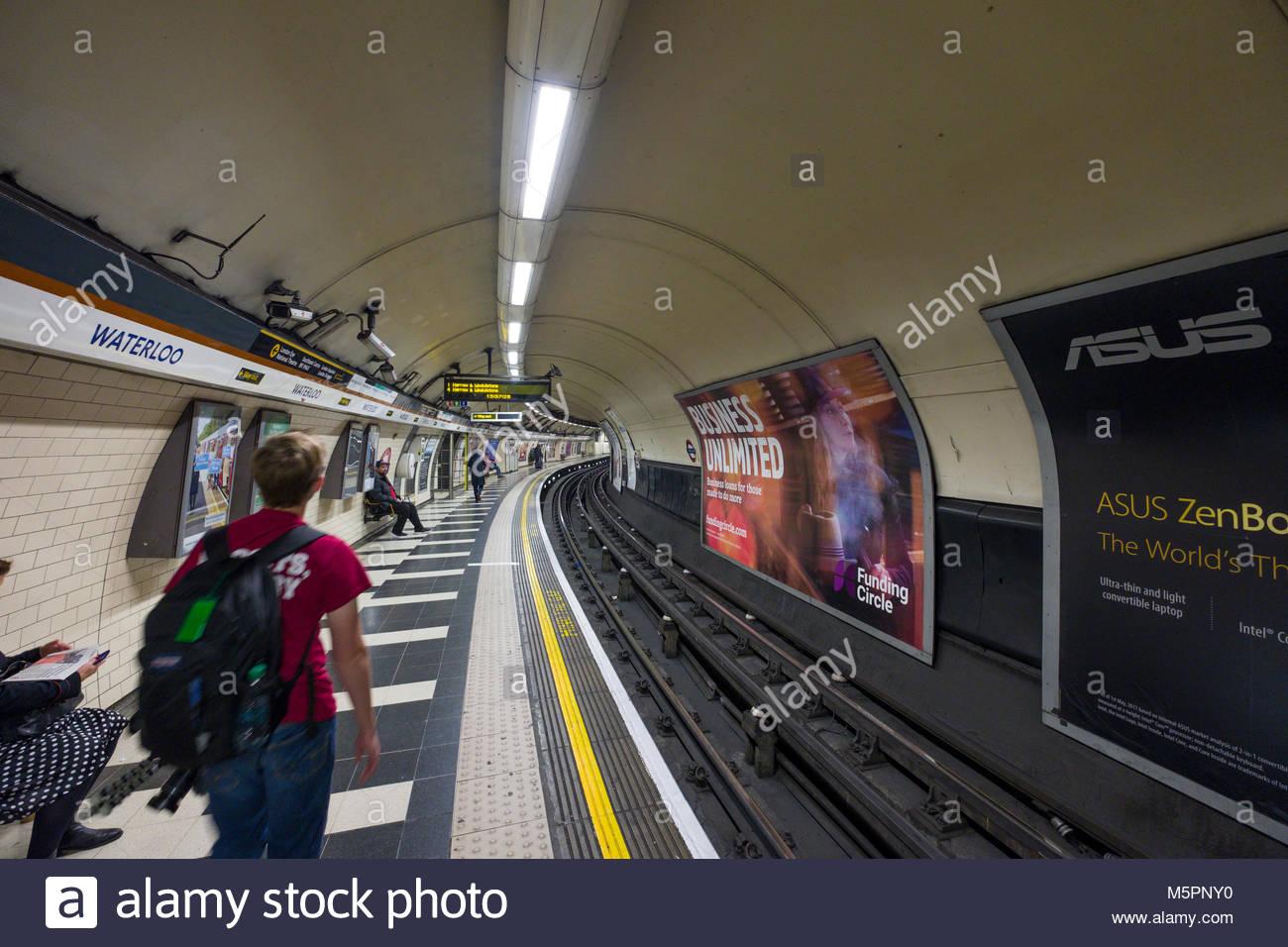 Train platform in Waterloo underground station, Lambeth, London, England, United Kingdom - Stock Image