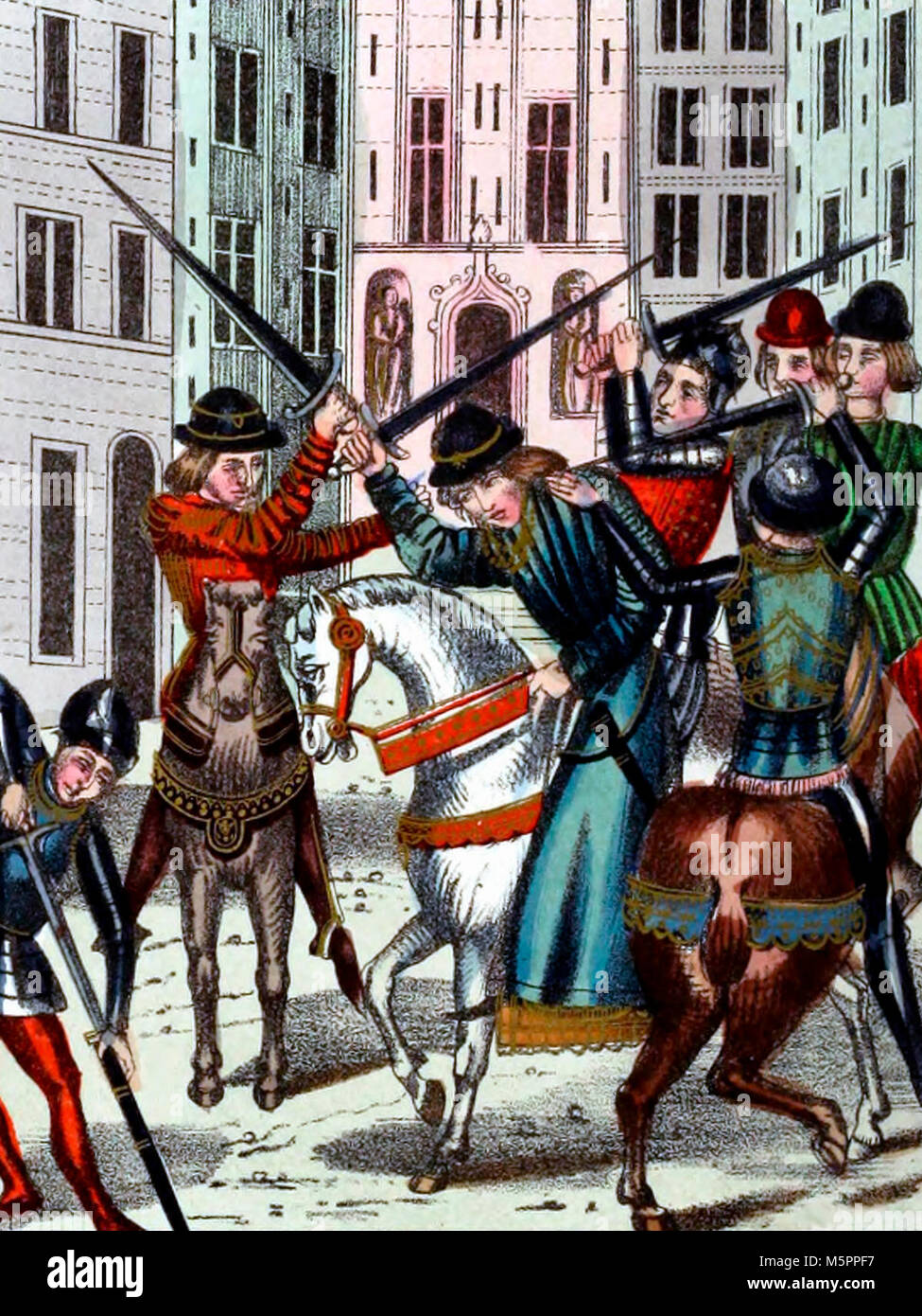 The attack on Sir Oliver de Clisson by the followers of Sir Peter de Craon - Stock Image