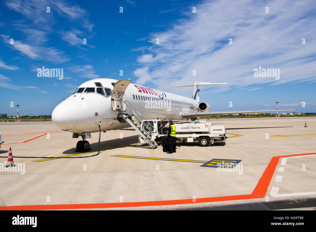 BARI, ITALY -APRIL 14: Tap, Iberia, Easyjet, Swiftair and Ryanair cancelled 59 flights between Spain and Portugal - Stock Image