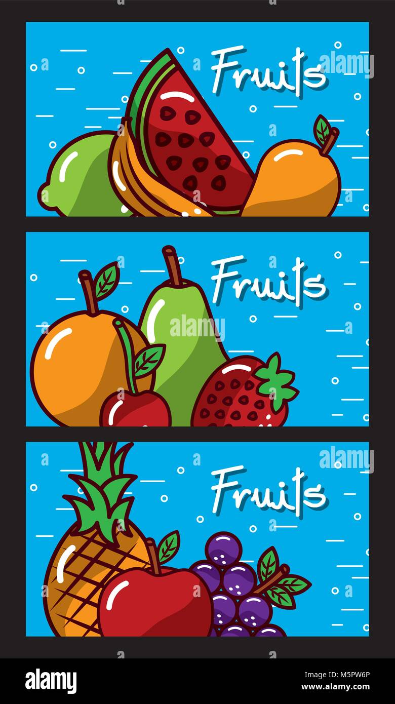 banners fresh natural tasty fruits - Stock Vector