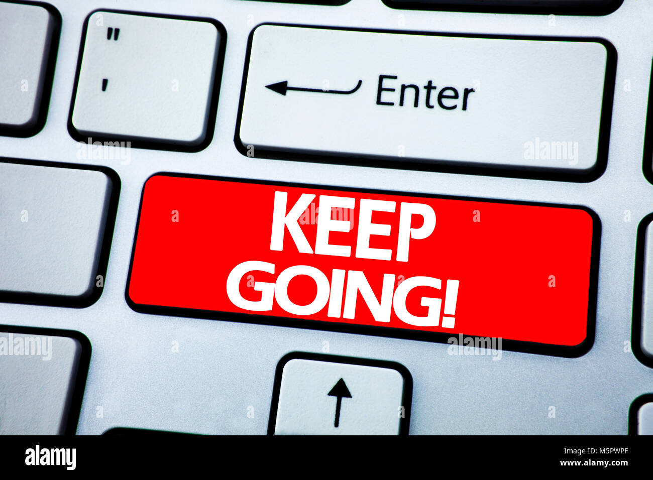 Handwriting Announcement text showing Keep Going. Business concept for Go Moving Forward Letting written on red - Stock Image