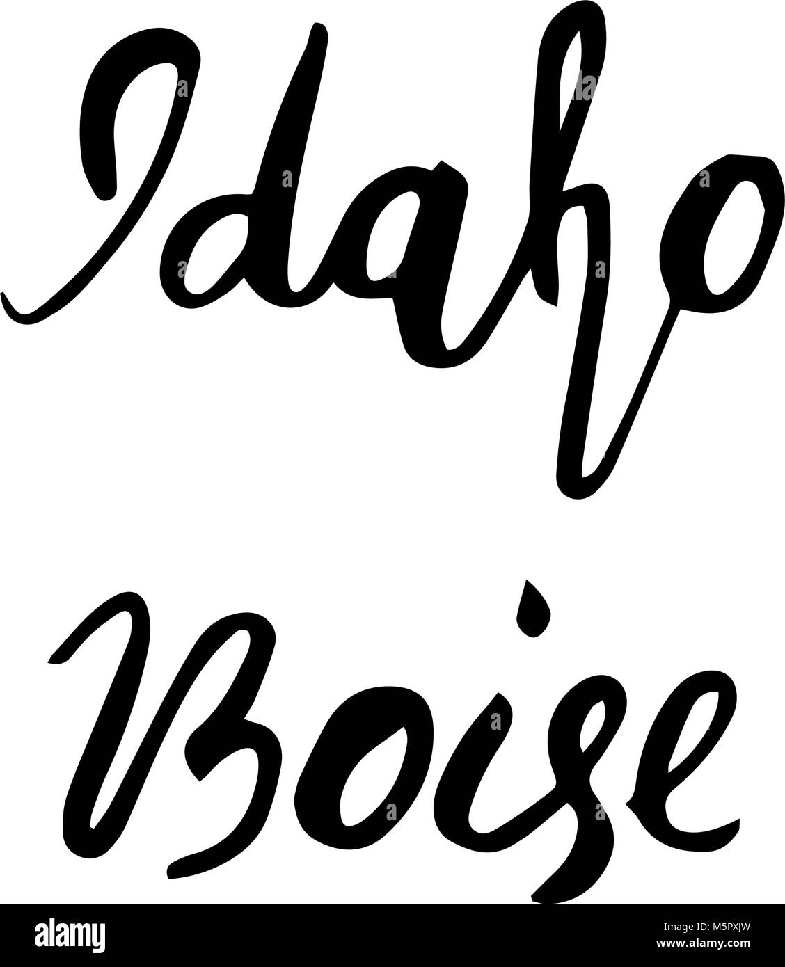 State USA Idaho and capital Boise hand lettering element isolated on white background. Calligraphic element for - Stock Vector