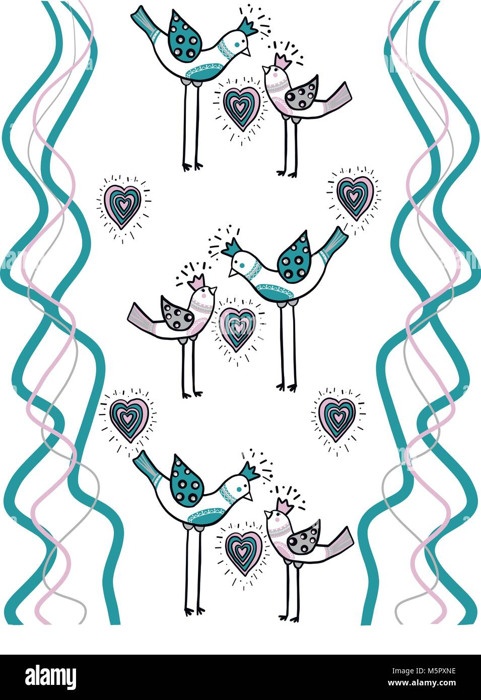 couple love birds with color heart and wave color lines are part of a beautiful ornament that creates design paper - Stock Image