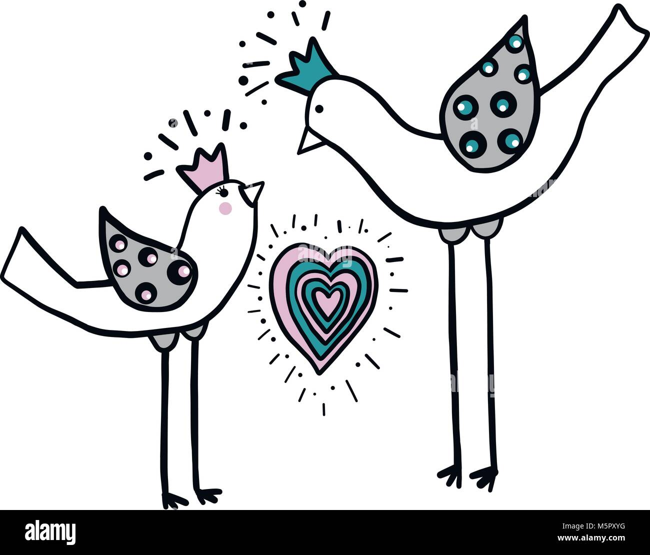 Minimalistic Simple Drawing Of Two Love Birds With Heart With Color Stock Vector Image Art Alamy