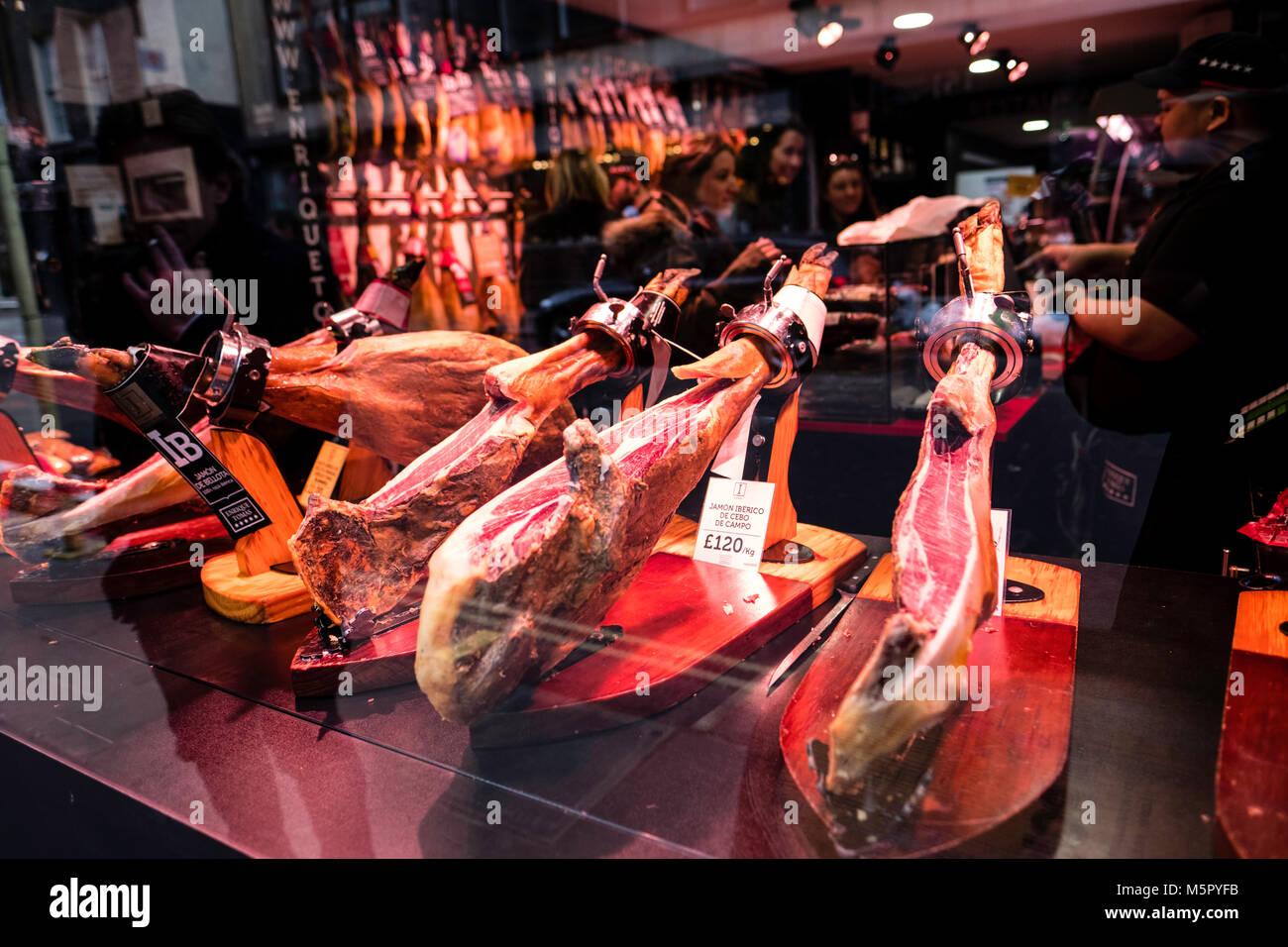 Spanish ham on sale, Wardour Street, London, United Kingdom - Stock Image