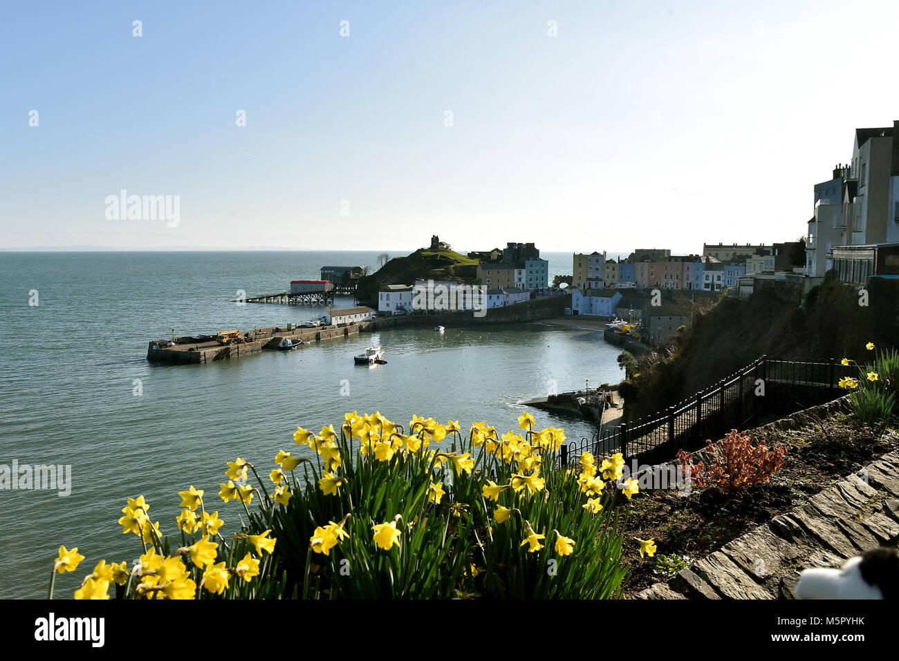Tenby, South Pembrokeshire. Pictures show the North Beach and the Harbour. Tenby was invaded by the Normans. The - Stock Image