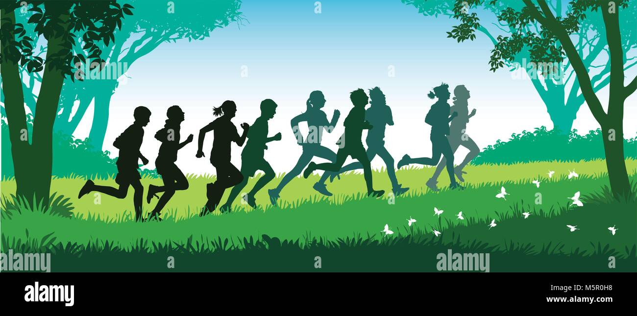 Crowd of young people is running in the park. - Stock Vector