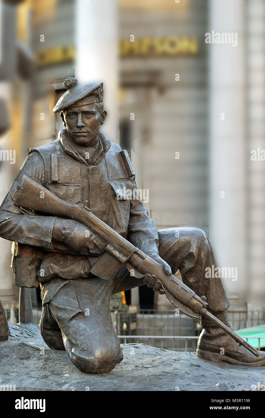 ABERDEEN, SCOTLAND - 12 FEBRUARY 2018: A detail from Mark Richards's statue commemorating the city's local - Stock Image