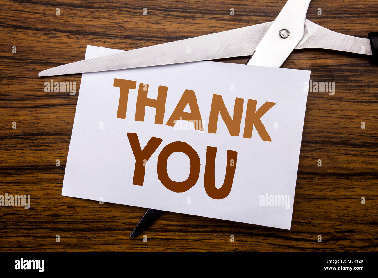 Hand writing text caption inspiration showing Thank You. Business concept for Gratitude Thanks Written on note, - Stock Image