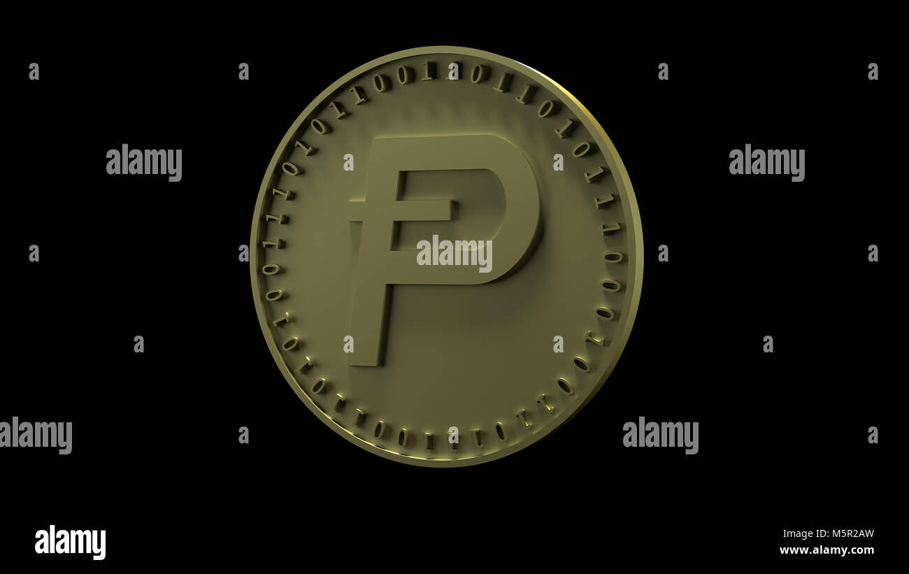 Gold coin with the symbol of Potcoin digital crypto currency and binary code stands on the edge, isolated on a black - Stock Image