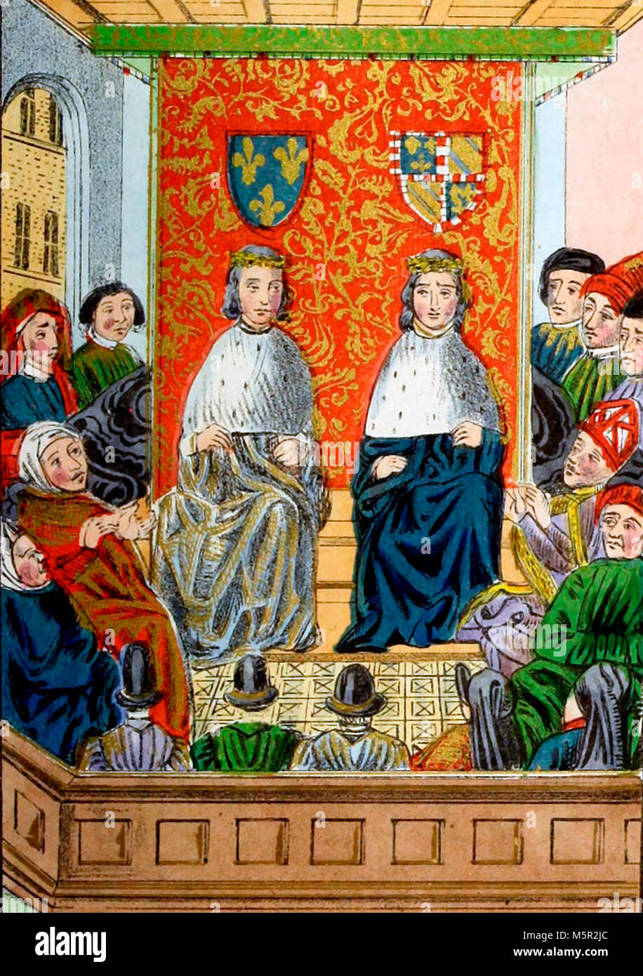 The Dukes of Burgundy and Berri sitting in Council as Regents during the illness of Charles the VI of France Stock Photo