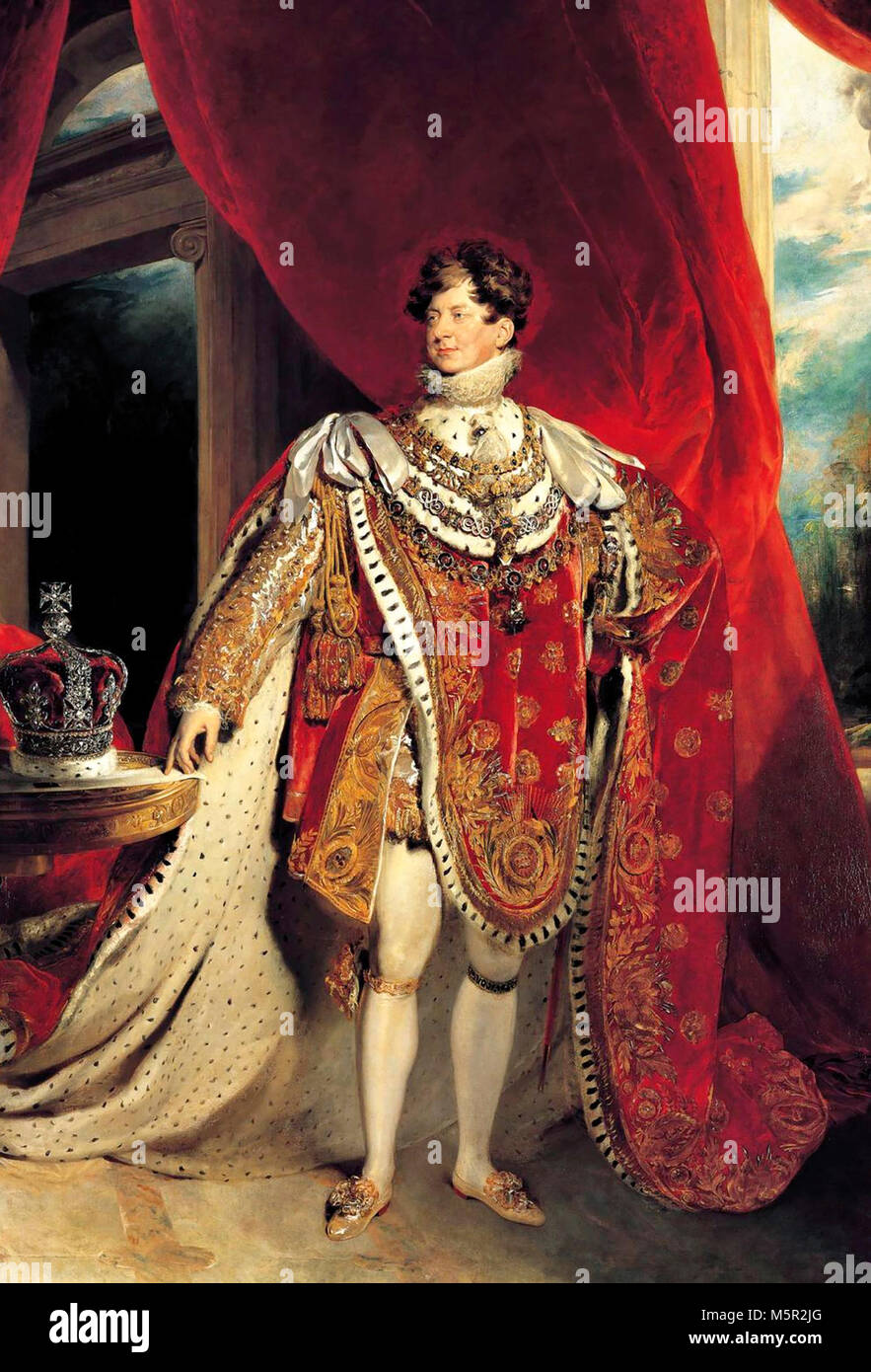 Coronation portrait of George IV - King George IV depicted wearing coronation robes and four collars of chivalric - Stock Image