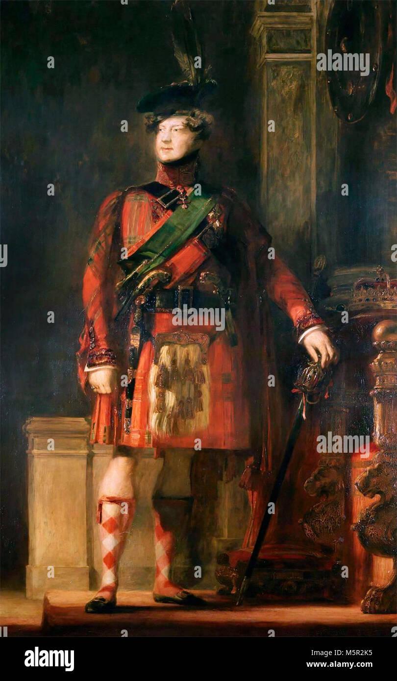 Portrait of George IV of the United Kingdom - King George IV in kilt, David Wilkie - Stock Image