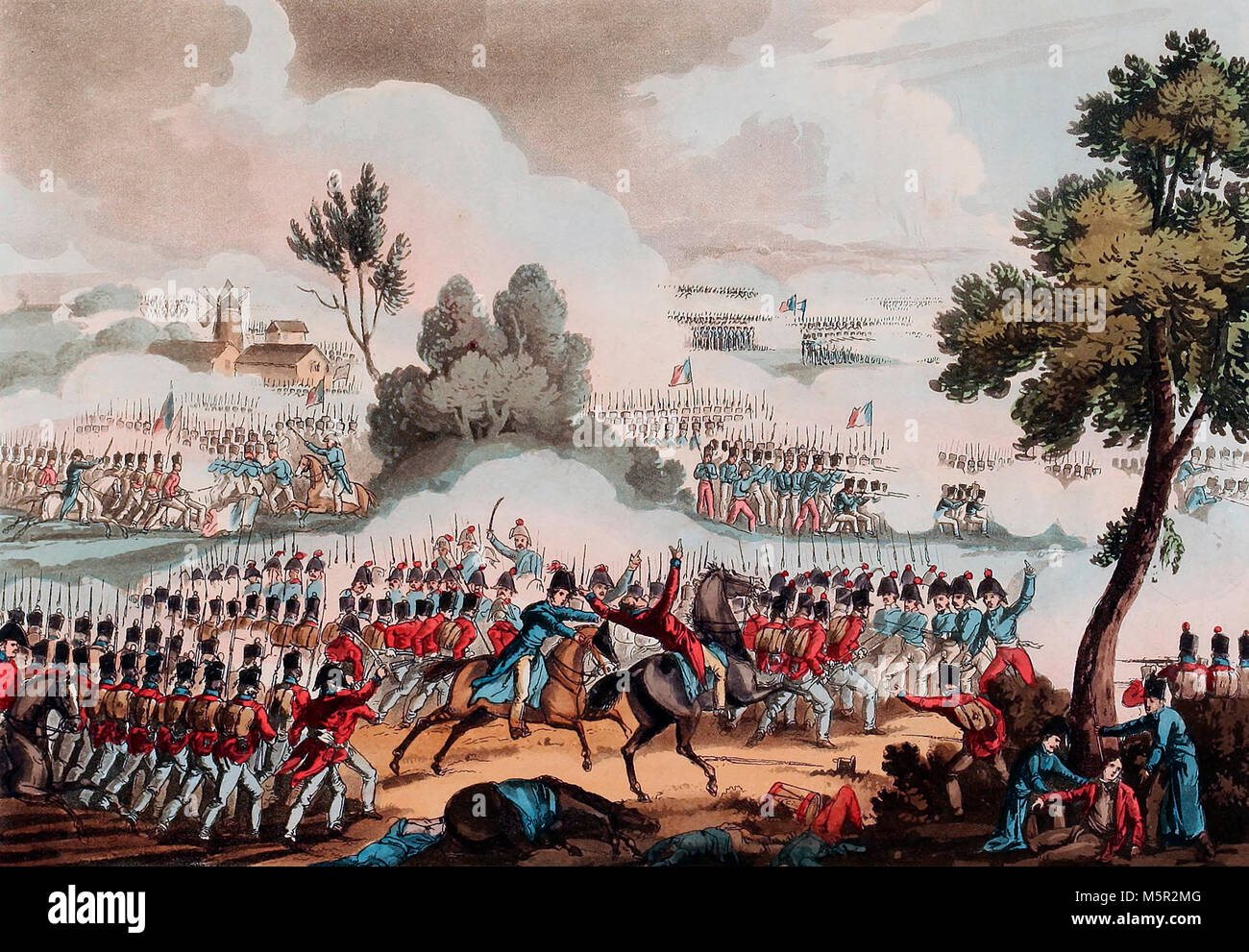 The left wing of the British Army in action at the Barrle of Waterloo - June 18, 1815 - Stock Image
