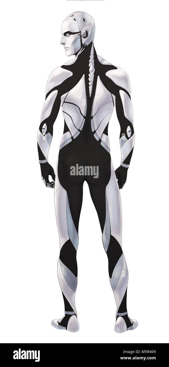 Futuristic cyborg illustration full body standing isolated - Stock Image