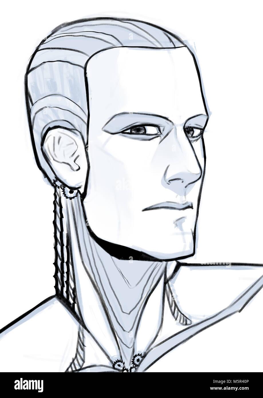 Futuristic cyborg illustration portrait isolated at white background - Stock Image