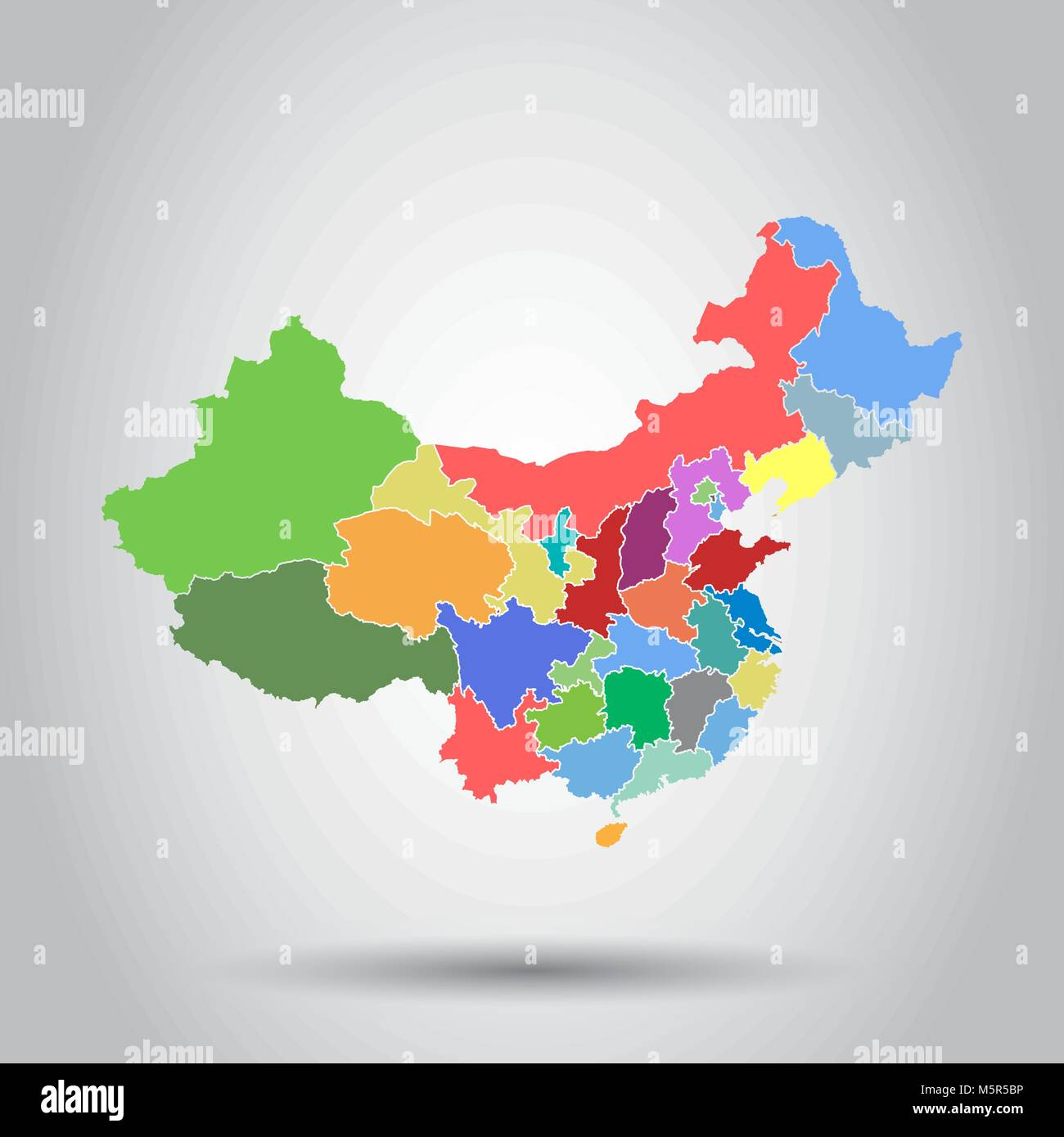 China map with province region. Flat vector illustration on isolated background - Stock Vector