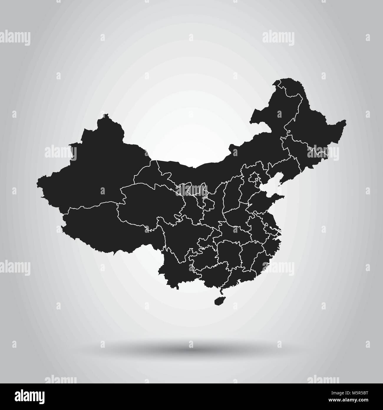 China map. Flat vector illustration on white background - Stock Vector