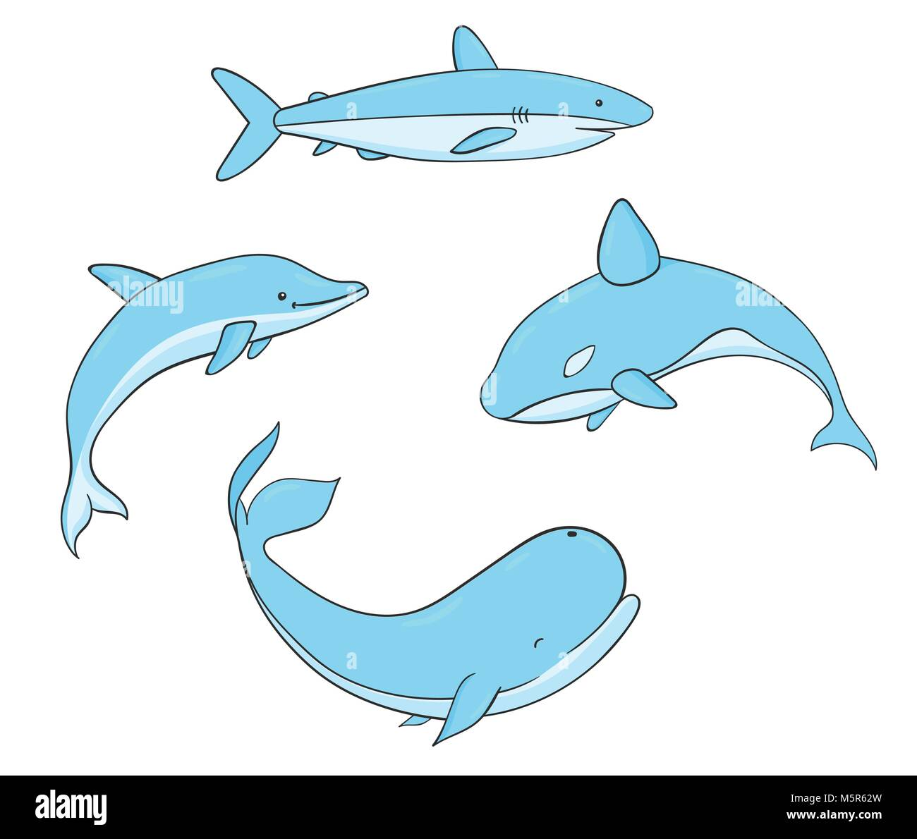 Set Of Vector Underwater Life With Whale Shark Narwhal And Dolphin Sea Creatures