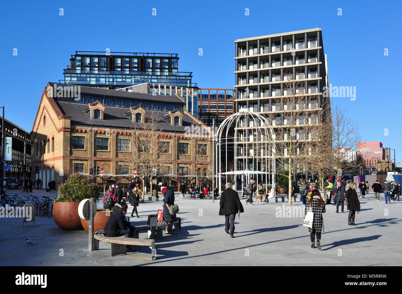Newly redeveloped area of Battle Bridge Place and King's Boulevard, between King's Cross and St Pancras - Stock Image