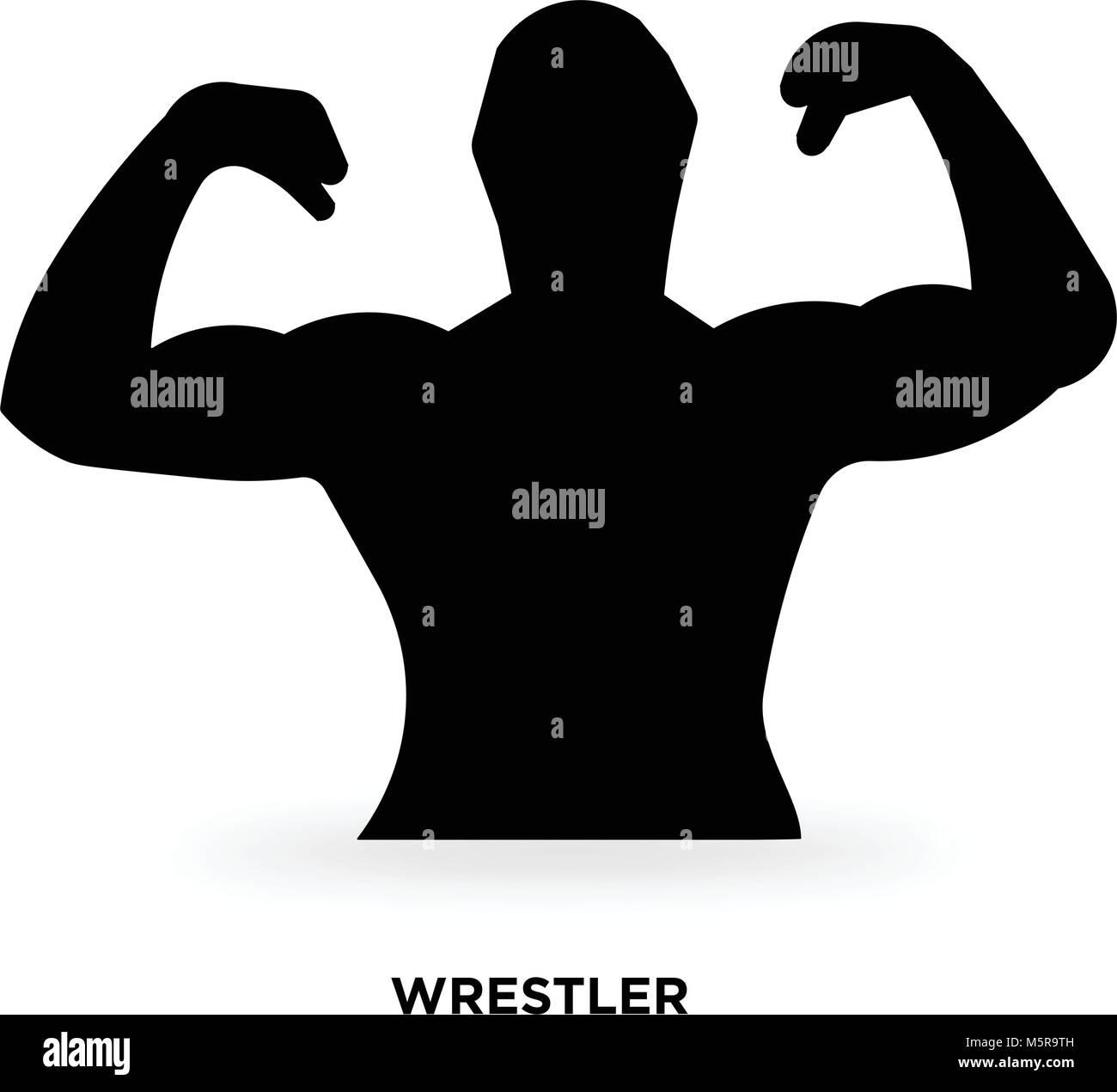 wrestler silhouette - Stock Image
