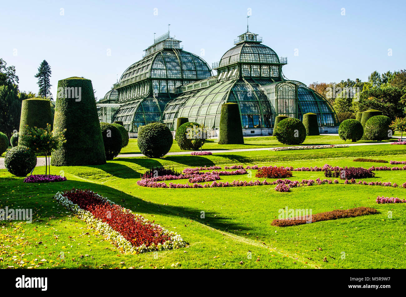 The Palmenhaus in the Schönbrunn Palace gardens is one of the last of its kind; a giant steel and glass construction Stock Photo