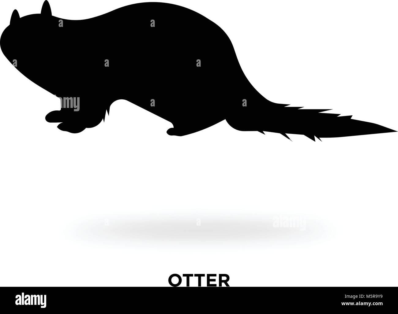 otter silhouette Stock Vector