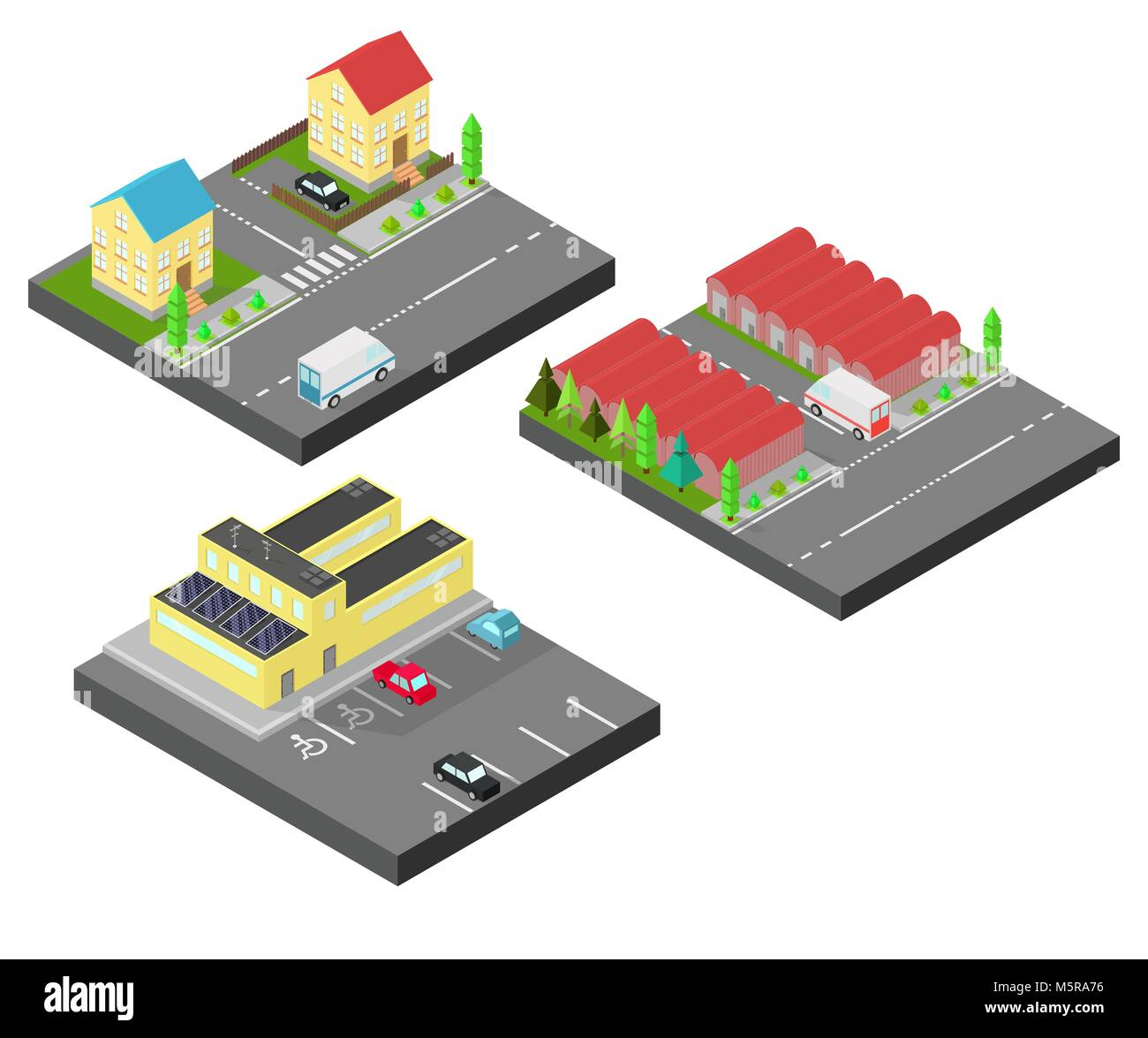 Isometric house. Two houses on the same street. Isometric building with solar panel. The factory with storage tanks, Stock Vector
