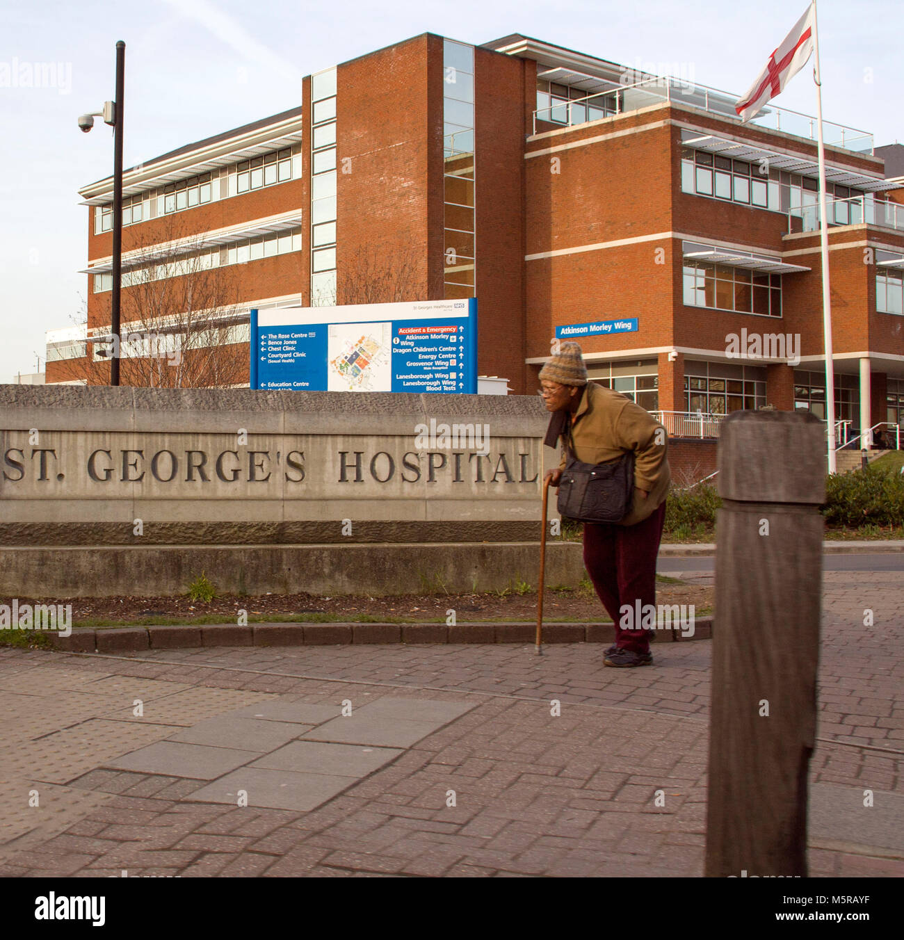 Colour Photograph of St Georges Hospital, Tooting, London, England, UK. Credit: London Snapper Stock Photo
