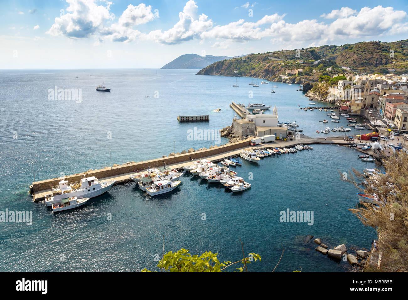 Aerial view of Marina Corta at the port of Lipari, Aeolian Islands, Italy Stock Photo