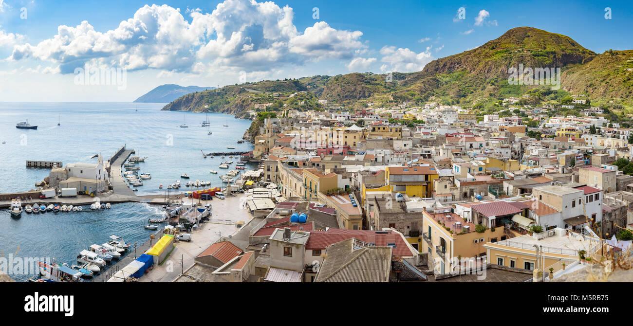 Panoramic view of Marina Corta in Lipari town, Aeolian Islands, Italy Stock Photo