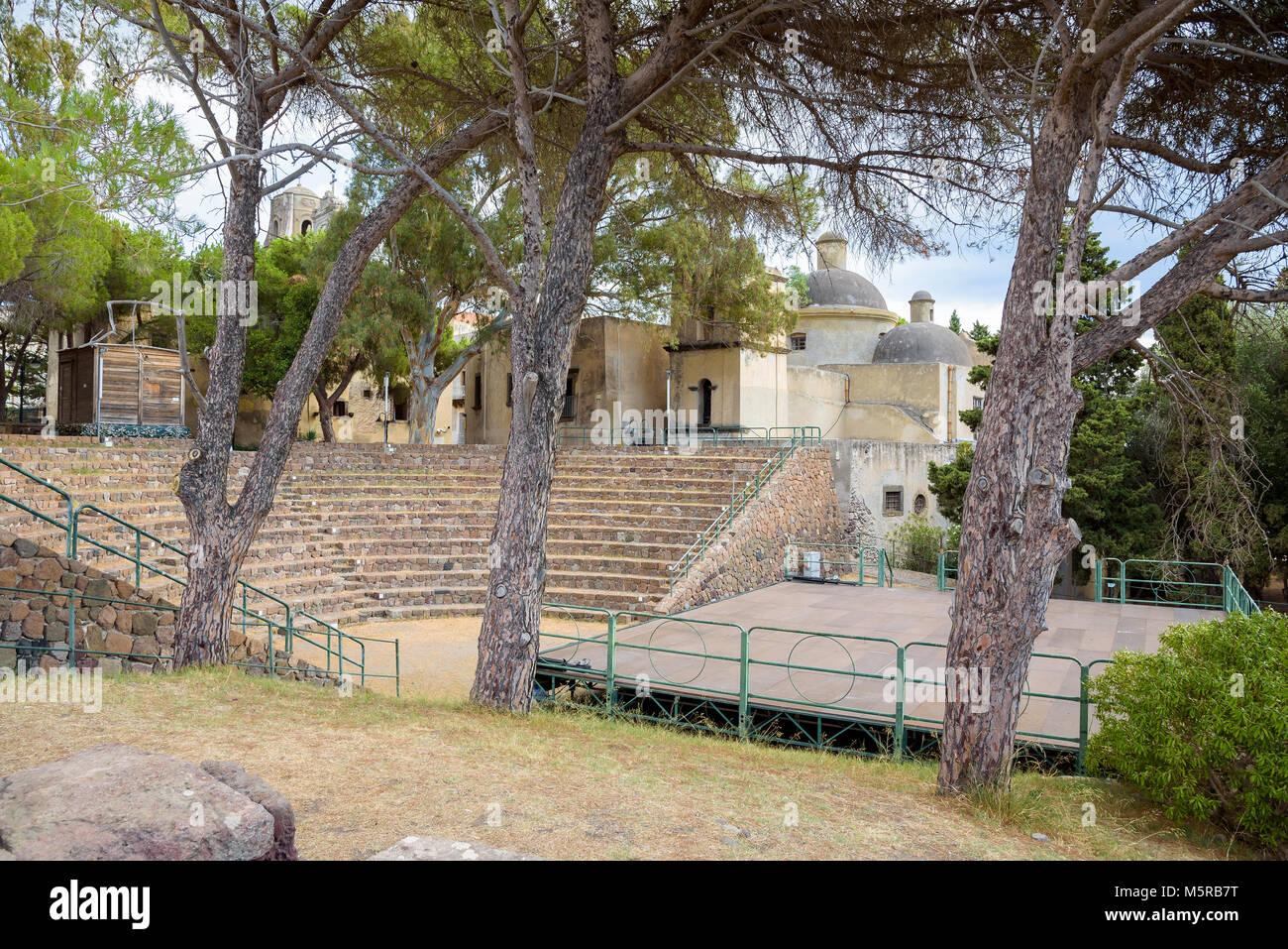 The ancient greek theater on Lipari Island, Aeolian Islands, Italy Stock Photo