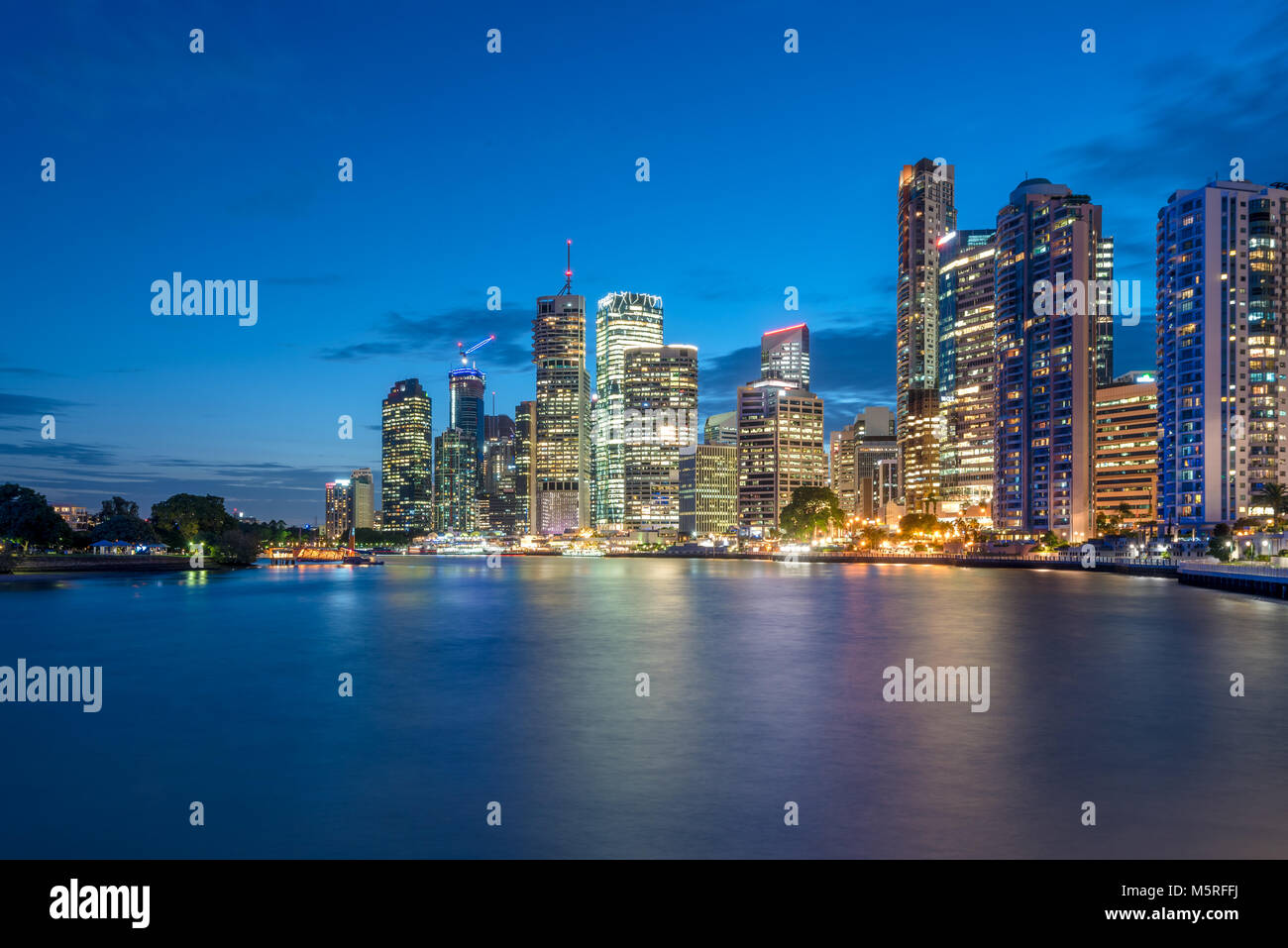Brisbane, Queensland, Australia Central Business District on Brisbane River viewed at night - Stock Image